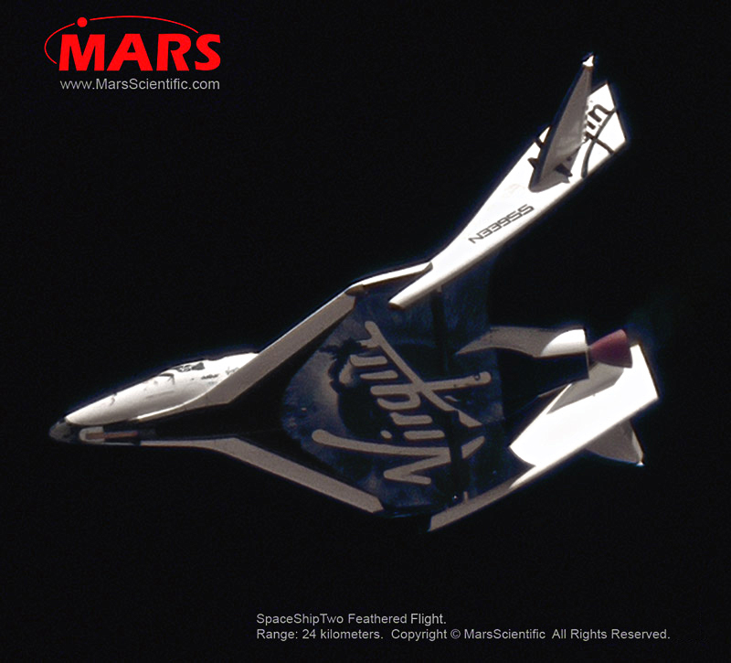 SpaceShipTwo PF02 Feathered Flight from 24 kilometers (MARS Scientific)